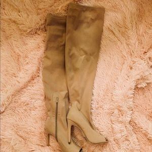 Forever21 Nude Thigh High Peep Toe Boots